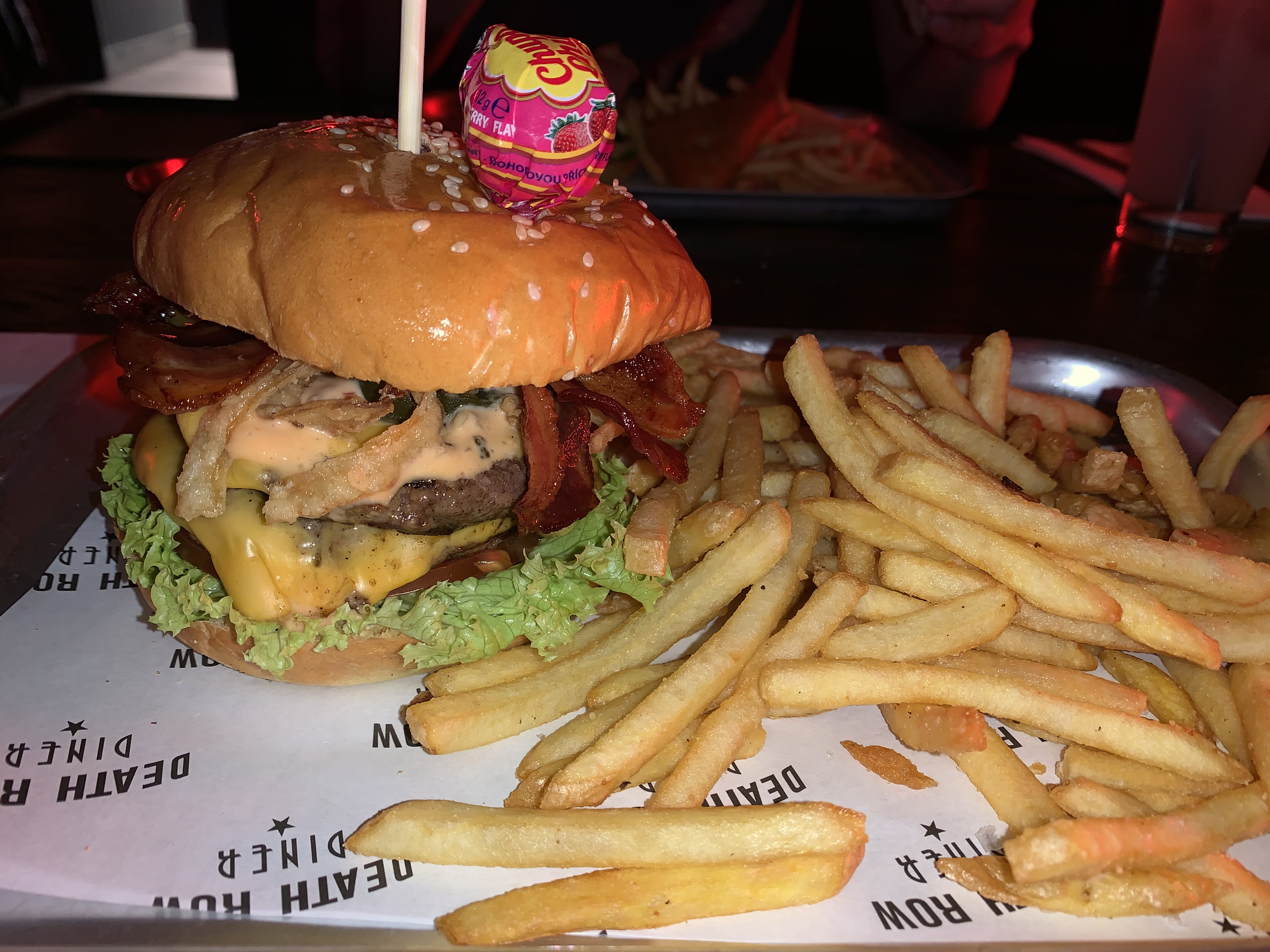 Cheese and Bacon Burger at Death Row Diner Liverpool