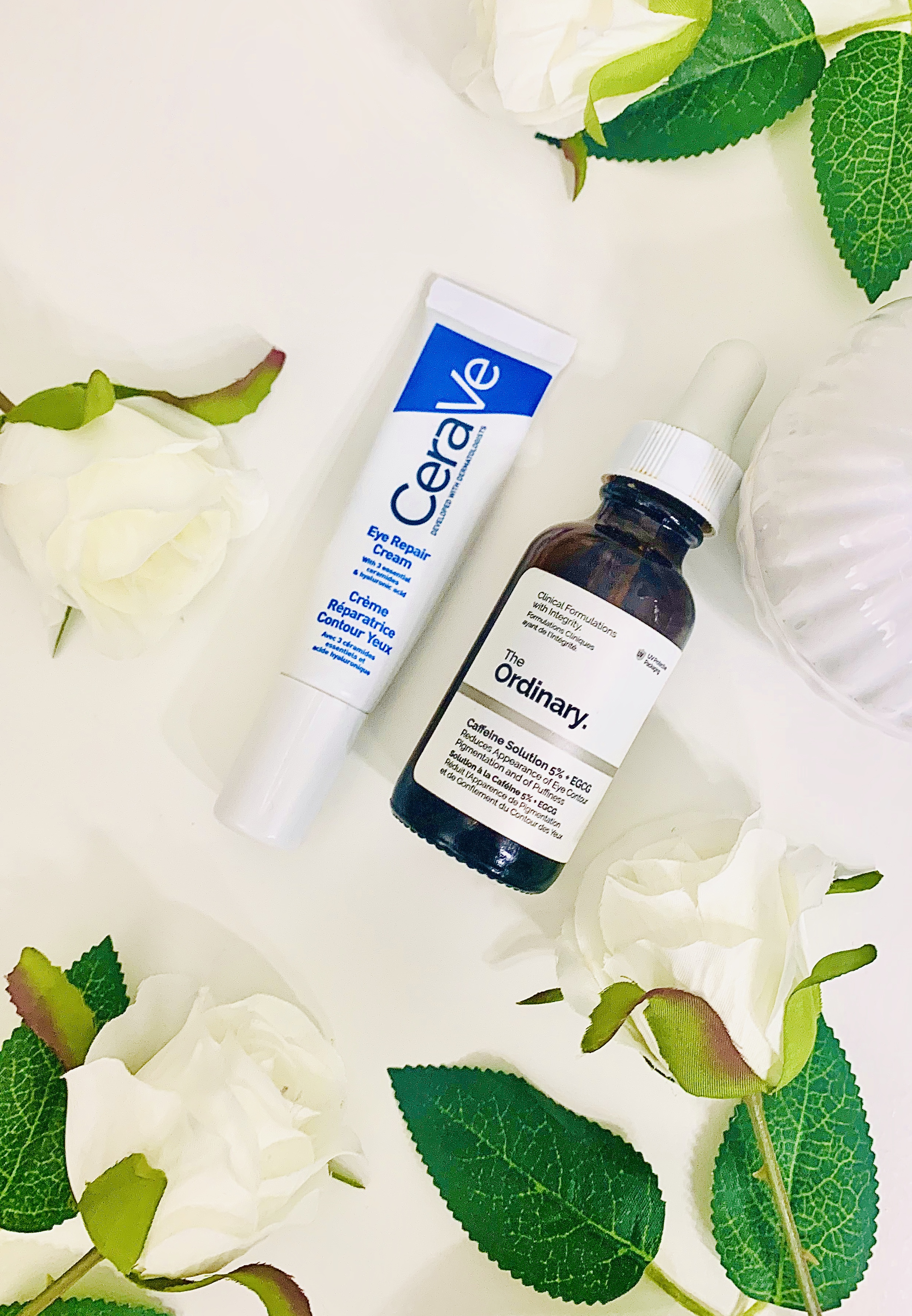 Cerave Eye Repair Cream and The Ordinary Caffeine Solution