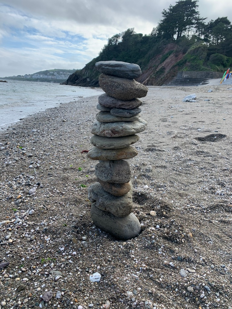 Rock Tower on a beach in Looe Cornwall