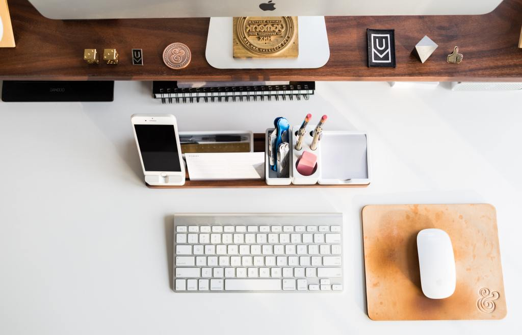 Image of office desk, keep a tidy workspace to be productive.