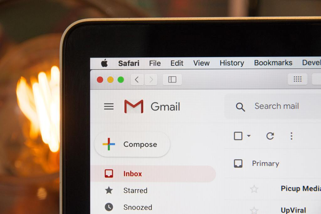 Image of Gmail inbox. Clear inbox to be productive.
