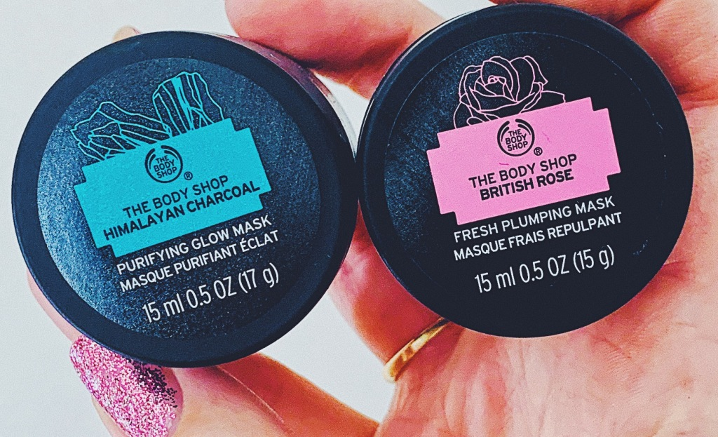 The Body Shop Himalayan Charcoal Purifying Glow Mask and The Body Shop British Rose Fresh Plumping Mask
