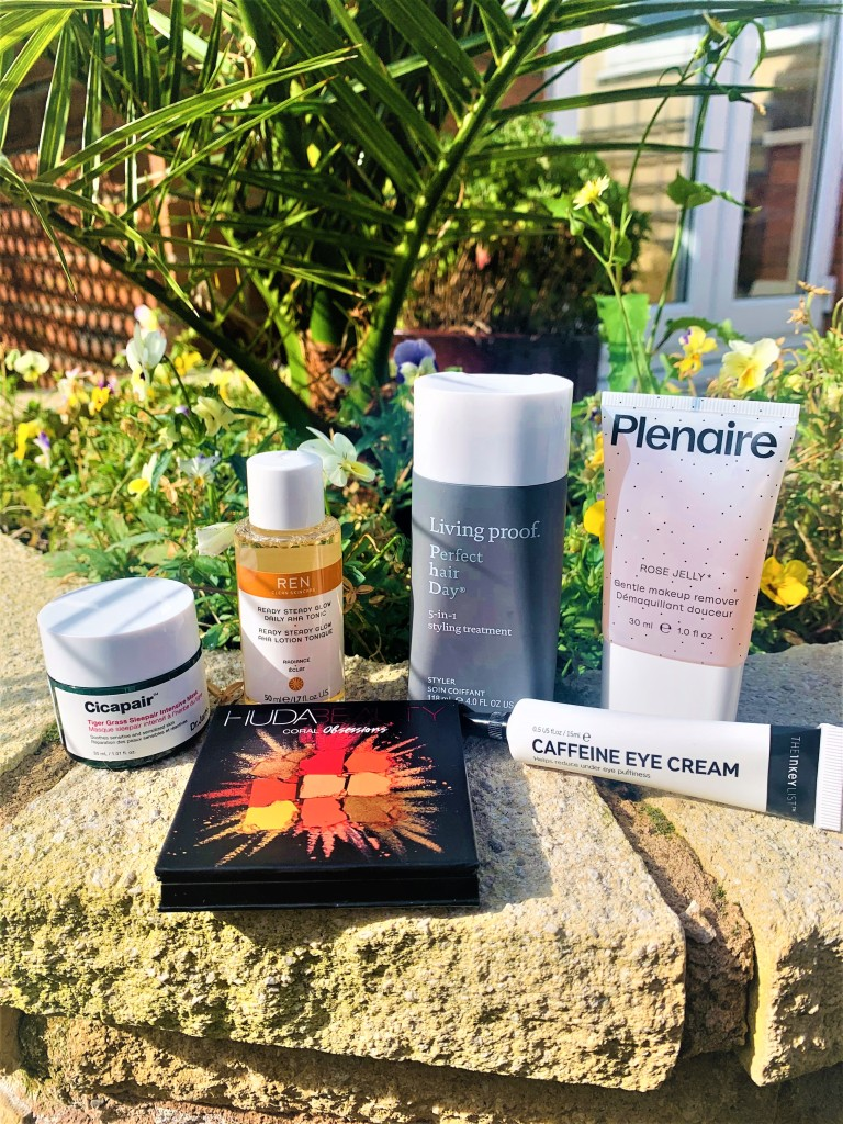 Cult Beauty Starter Kit Products. Dr Jart Cicapair Tiger Grass Sleepair Mask; REN AHA Tonic; Living Proof Perfect Hair Day; Pleanaire Rose Jelly Makeup Remover, The Inkey List Caffeine Eye Cream, Huda Beauty Coral Obsessions Eyeshadow Palette