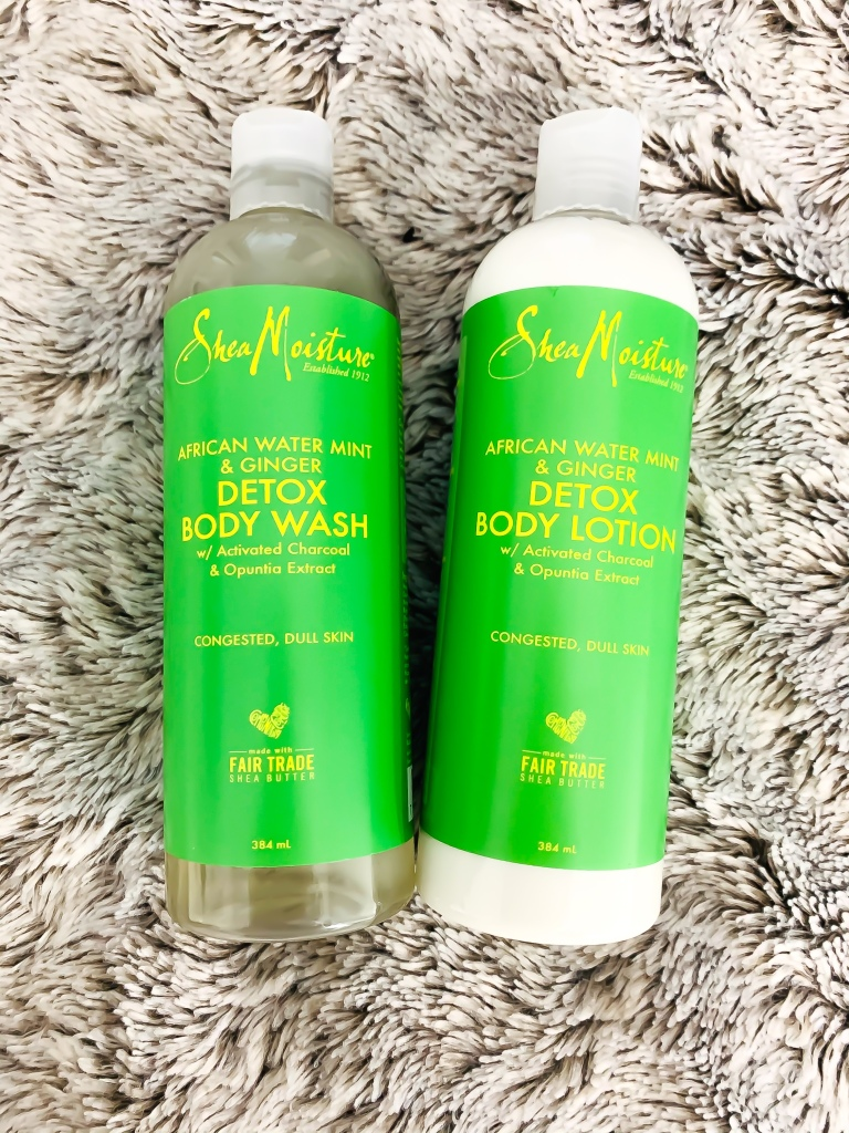 Shea Moisture African Water Mint & Ginger Detox Body Wash and Body Lotion
