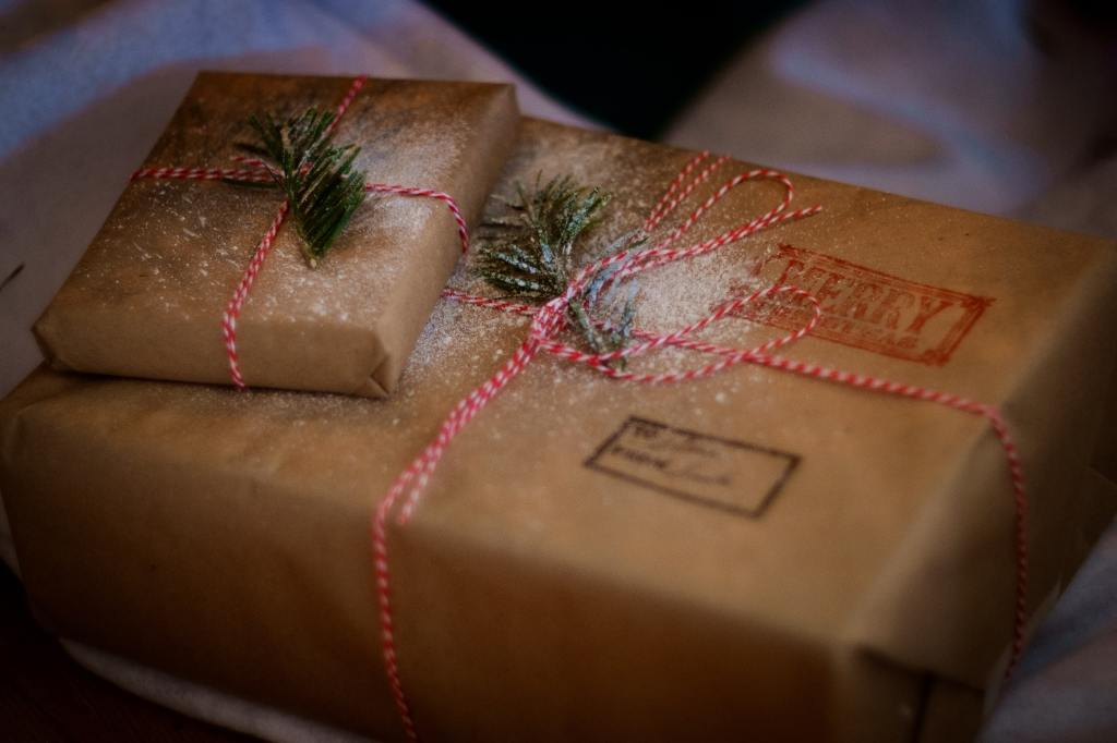 Christmas Gift wrapped in brown paper